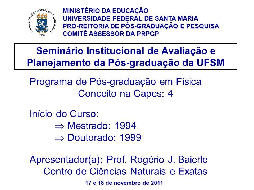 17 e 18 de novembro de 2011 Seminário Institucional de Avaliação e Planejamento da Pós-graduação da UFSM Programa de Pós-graduação em Física Conceito na Capes: 4 Início do Curso:  Mestrado: 1994  Doutorado: 1999 Apresentador(a): Prof.