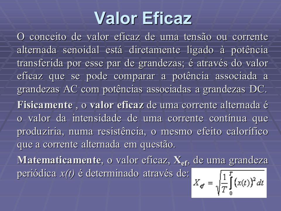 Valor Eficaz O conceito de valor eficaz de uma tensão ou corrente alternada senoidal está diretamente ligado à potência transferida por esse par de gr