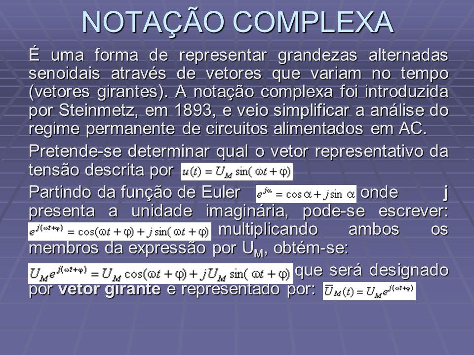 NOTAÇÃO COMPLEXA É uma forma de representar grandezas alternadas senoidais através de vetores que variam no tempo (vetores girantes). A notação comple