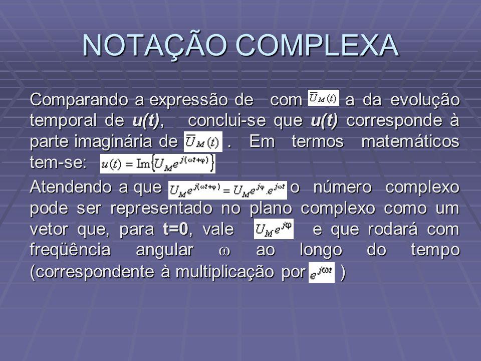 NOTAÇÃO COMPLEXA Comparando a expressão de com a da evolução temporal de u(t), conclui-se que u(t) corresponde à parte imaginária de. Em termos matemá