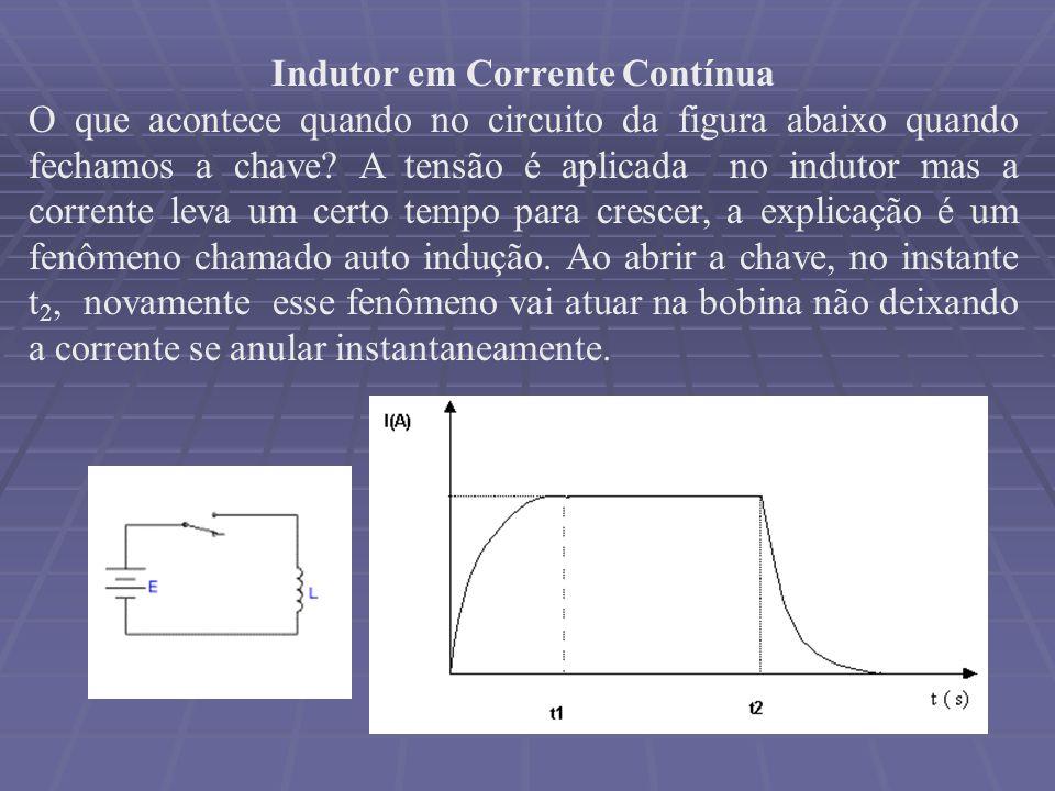 Indutor em Corrente Contínua O que acontece quando no circuito da figura abaixo quando fechamos a chave? A tensão é aplicada no indutor mas a corrente