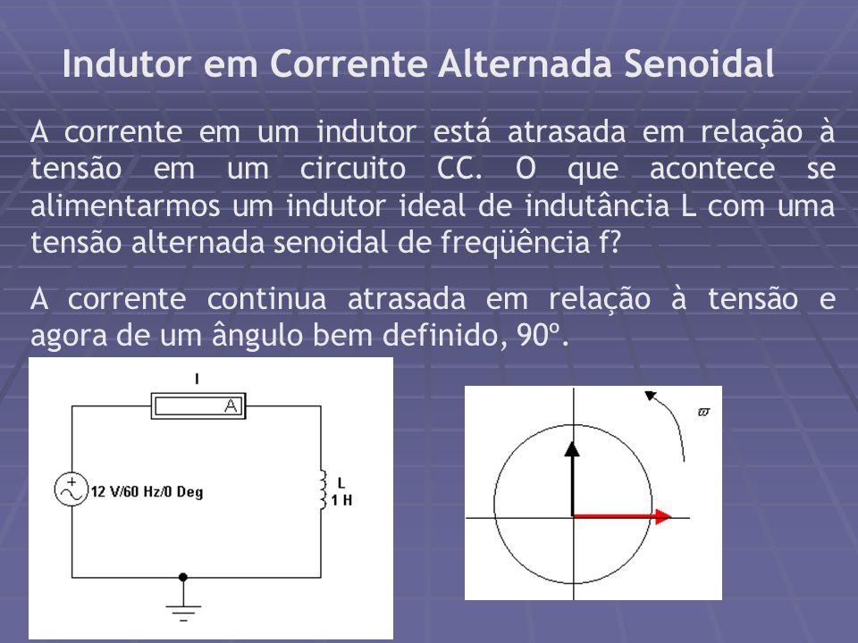 Indutor em Corrente Alternada Senoidal A corrente em um indutor está atrasada em relação à tensão em um circuito CC. O que acontece se alimentarmos um