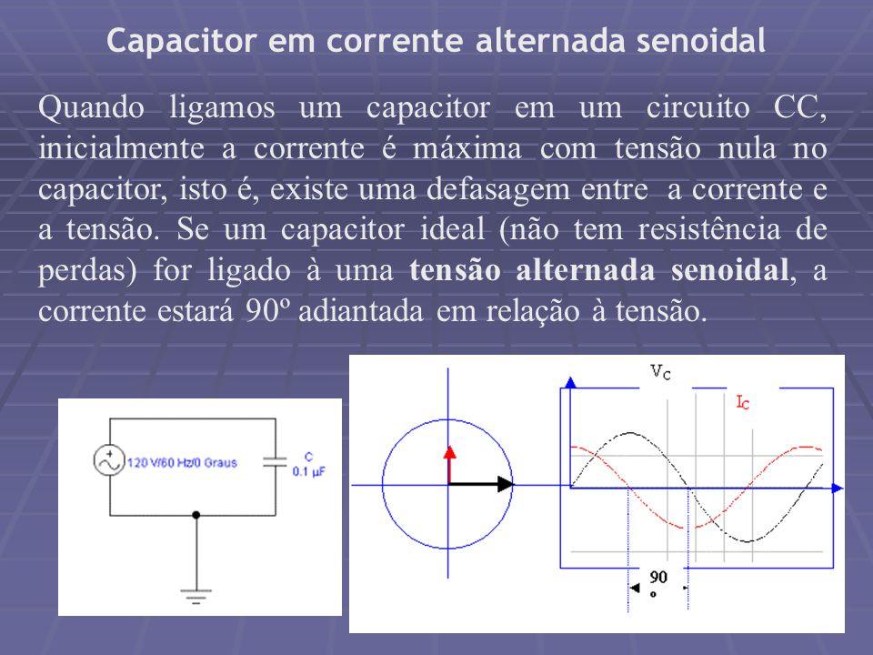 Capacitor em corrente alternada senoidal Quando ligamos um capacitor em um circuito CC, inicialmente a corrente é máxima com tensão nula no capacitor,