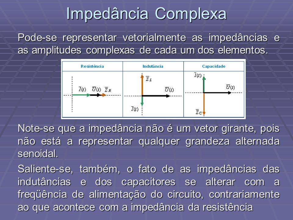 Impedância Complexa Pode-se representar vetorialmente as impedâncias e as amplitudes complexas de cada um dos elementos. Note-se que a impedância não