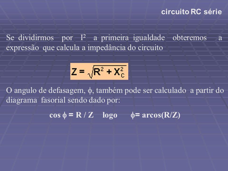 circuito RC série Se dividirmos por I 2 a primeira igualdade obteremos a expressão que calcula a impedância do circuito O angulo de defasagem,  tam