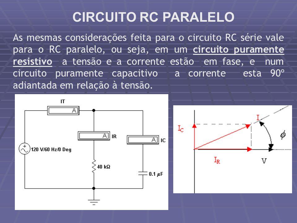CIRCUITO RC PARALELO As mesmas considerações feita para o circuito RC série vale para o RC paralelo, ou seja, em um circuito puramente resistivo a ten