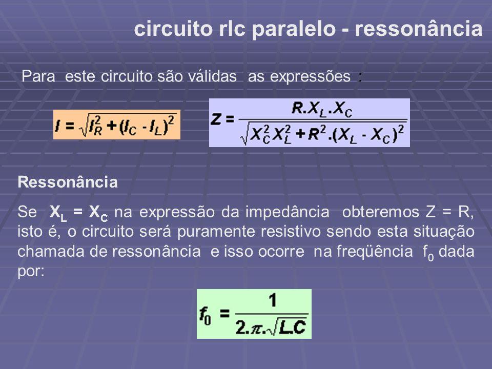 circuito rlc paralelo - ressonância Para este circuito são v á lidas as expressões : Ressonância Se X L = X C na expressão da impedância obteremos Z =