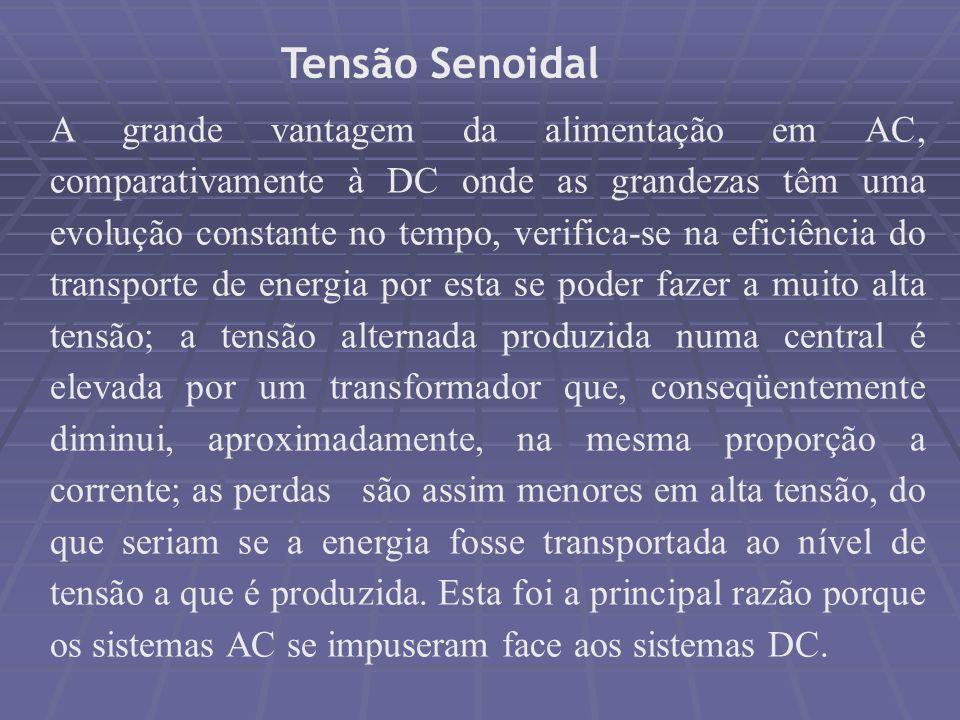 Tensão Senoidal A grande vantagem da alimentação em AC, comparativamente à DC onde as grandezas têm uma evolução constante no tempo, verifica-se na ef