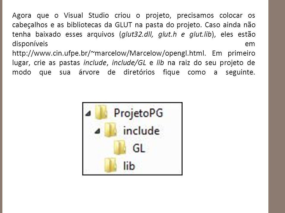 Agora que o Visual Studio criou o projeto, precisamos colocar os cabeçalhos e as bibliotecas da GLUT na pasta do projeto.