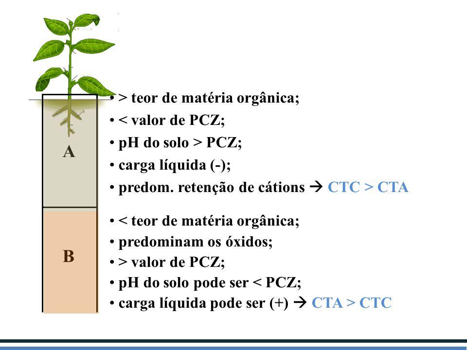 A B > teor de matéria orgânica; < valor de PCZ; pH do solo > PCZ; carga líquida (-); predom. retenção de cátions  CTC > CTA < teor de matéria orgânic