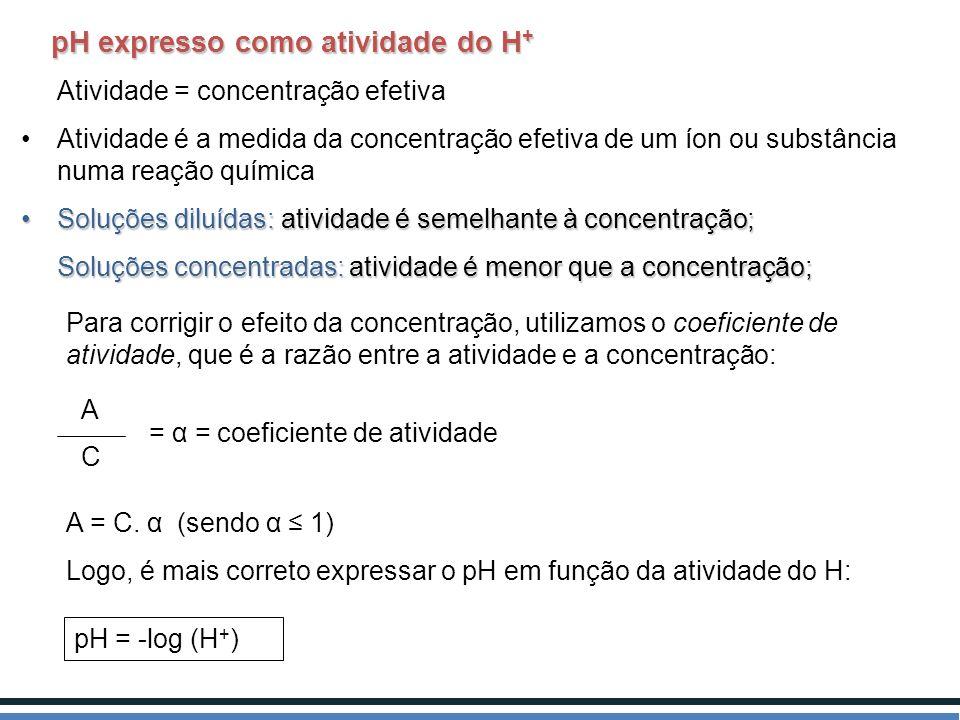 pH expresso como atividade do H + pH expresso como atividade do H + Atividade = concentração efetiva Atividade é a medida da concentração efetiva de u