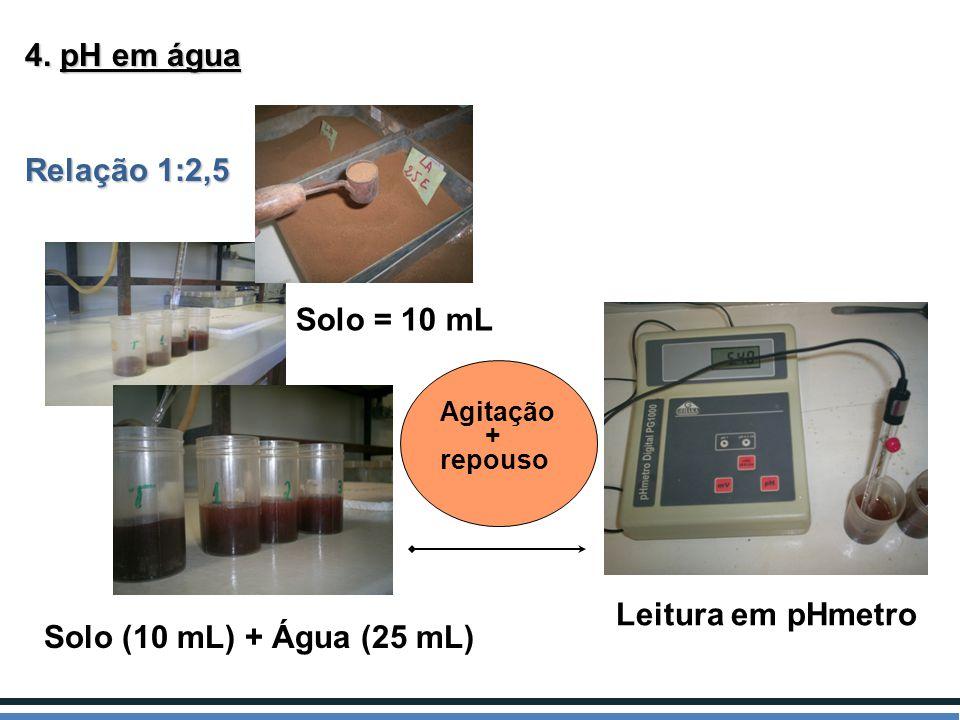 4. pH em água Relação 1:2,5 Solo = 10 mL Solo (10 mL) + Água (25 mL) Leitura em pHmetro Agitação + repouso