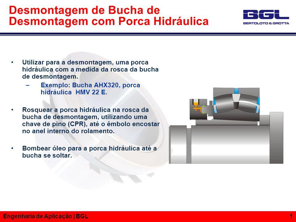 Informações Técnicas Engenharia de Aplicação | BGL 1 Desmontagem de Bucha de Desmontagem com Porca Hidráulica Utilizar para a desmontagem, uma porca h