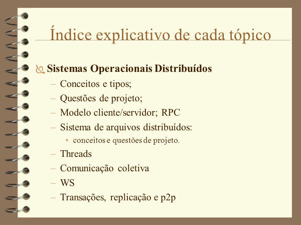 Índice explicativo de cada tópico  Sistemas Operacionais Distribuídos –Conceitos e tipos; –Questões de projeto; –Modelo cliente/servidor; RPC –Sistema de arquivos distribuídos: conceitos e questões de projeto.