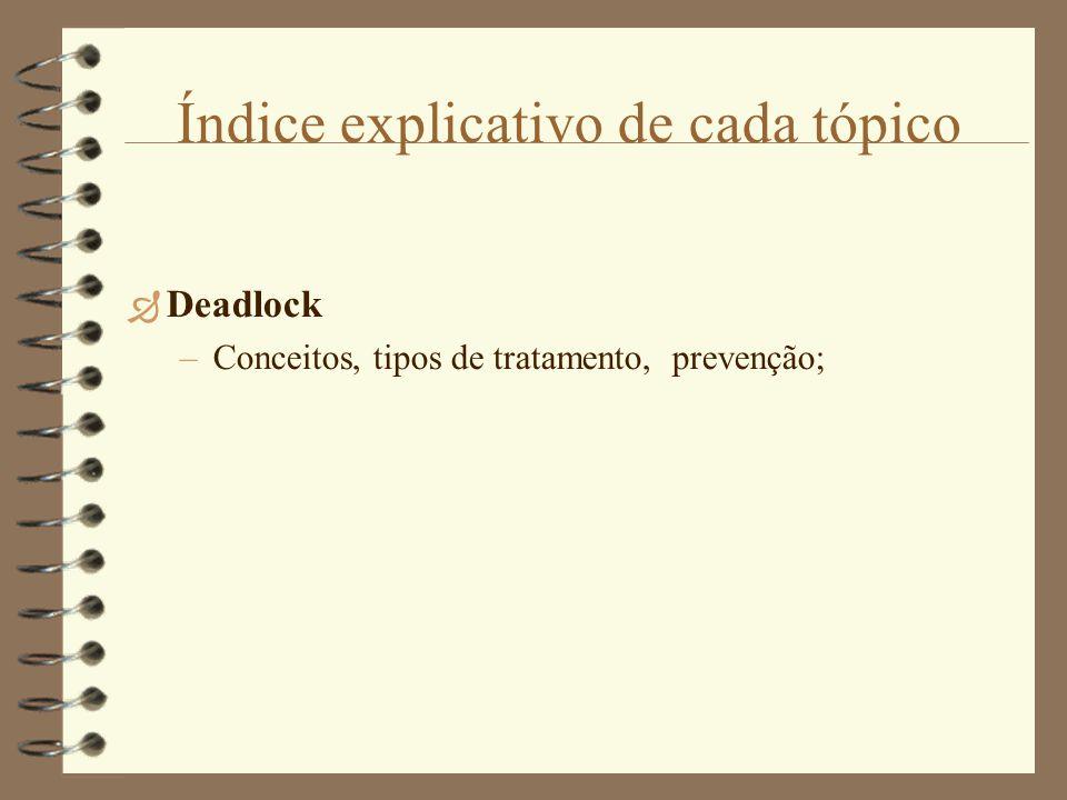 Índice explicativo de cada tópico  Deadlock –Conceitos, tipos de tratamento, prevenção;