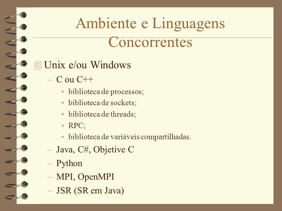 Ambiente e Linguagens Concorrentes  Unix e/ou Windows –C ou C++ biblioteca de processos; biblioteca de sockets; biblioteca de threads; RPC; biblioteca de variáveis compartilhadas.
