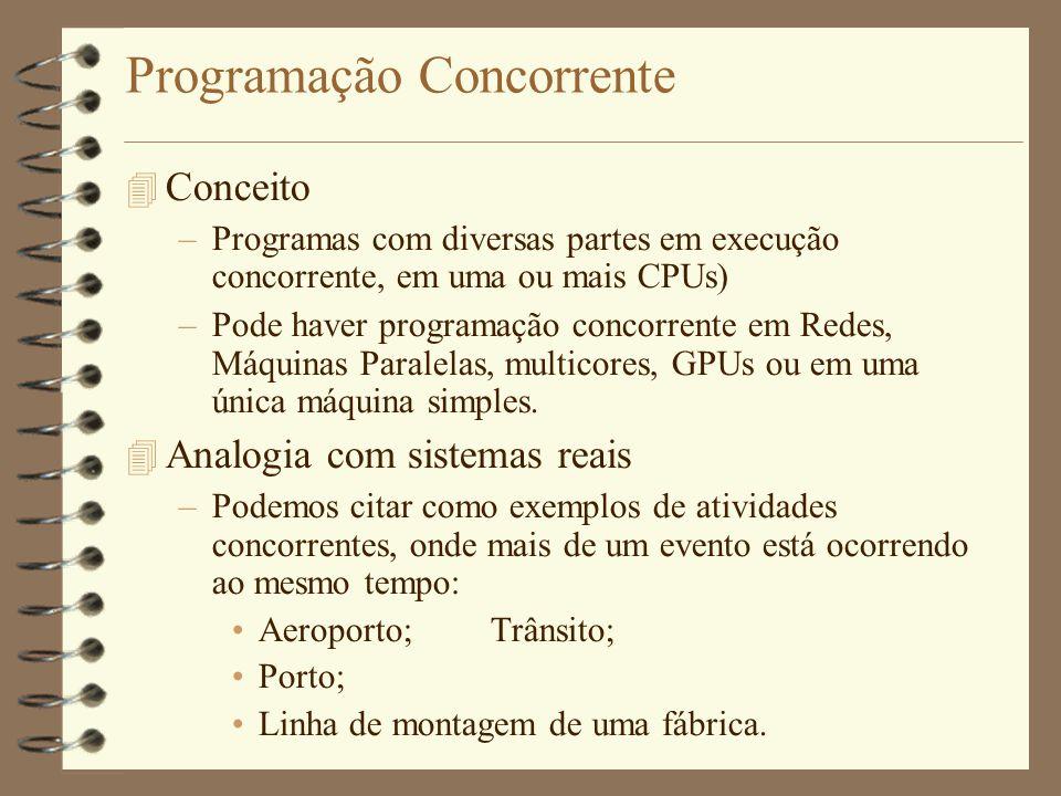 Programação Concorrente  Conceito –Programas com diversas partes em execução concorrente, em uma ou mais CPUs) –Pode haver programação concorrente em Redes, Máquinas Paralelas, multicores, GPUs ou em uma única máquina simples.