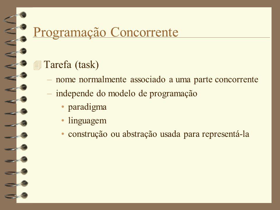 Programação Concorrente  Tarefa (task) –nome normalmente associado a uma parte concorrente –independe do modelo de programação paradigma linguagem construção ou abstração usada para representá-la