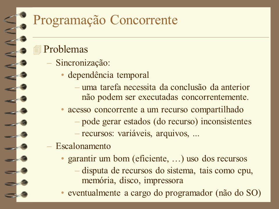 Programação Concorrente  Problemas –Sincronização: dependência temporal –uma tarefa necessita da conclusão da anterior não podem ser executadas concorrentemente.