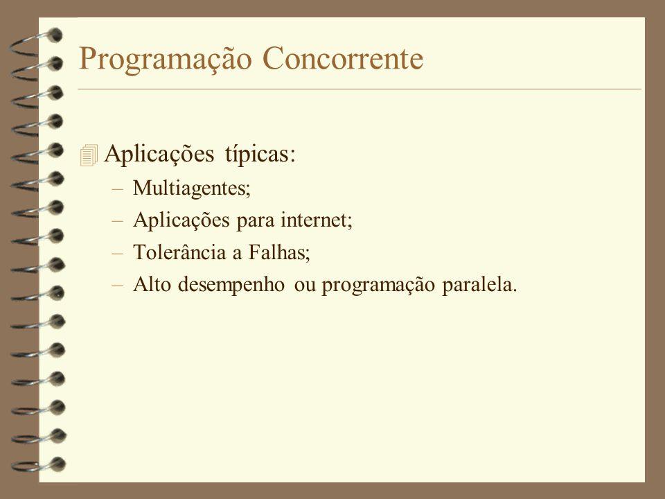 Programação Concorrente  Aplicações típicas: –Multiagentes; –Aplicações para internet; –Tolerância a Falhas; –Alto desempenho ou programação paralela.