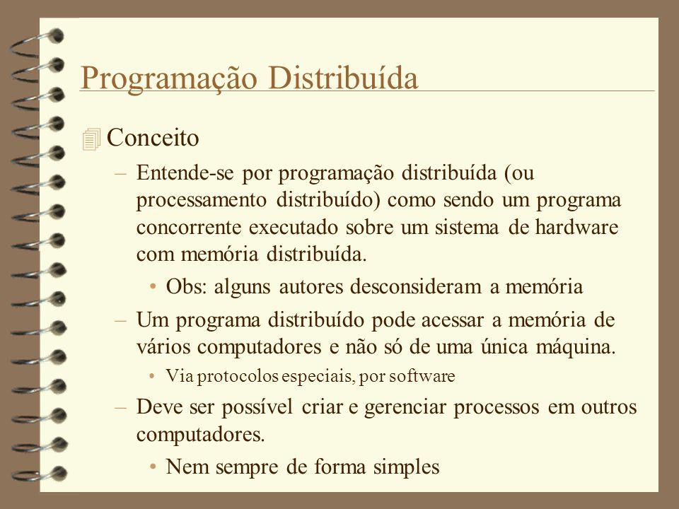 Programação Distribuída  Conceito –Entende-se por programação distribuída (ou processamento distribuído) como sendo um programa concorrente executado sobre um sistema de hardware com memória distribuída.