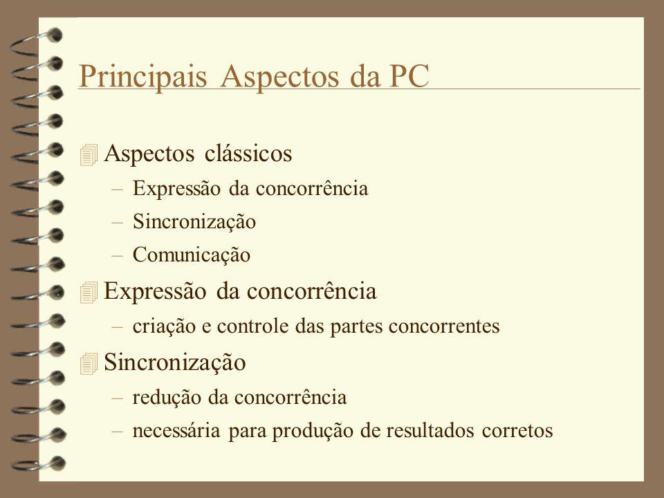 Principais Aspectos da PC  Aspectos clássicos –Expressão da concorrência –Sincronização –Comunicação  Expressão da concorrência –criação e controle das partes concorrentes  Sincronização –redução da concorrência –necessária para produção de resultados corretos