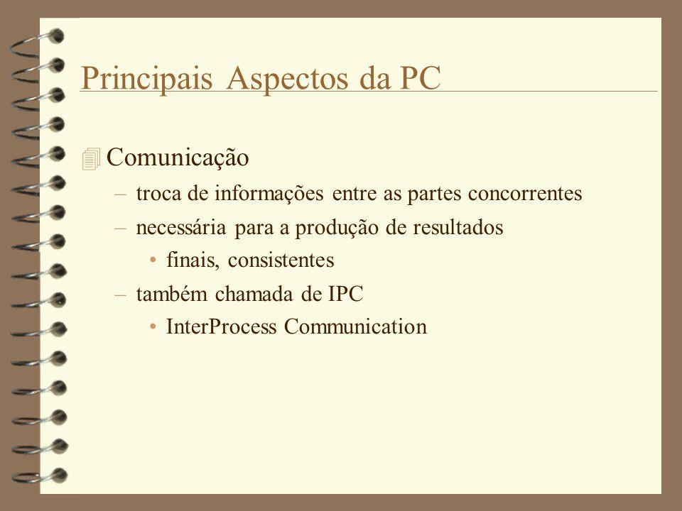 Principais Aspectos da PC  Comunicação –troca de informações entre as partes concorrentes –necessária para a produção de resultados finais, consistentes –também chamada de IPC InterProcess Communication