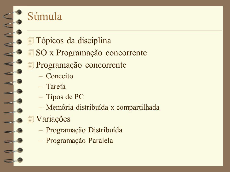 Súmula  Tópicos da disciplina  SO x Programação concorrente  Programação concorrente –Conceito –Tarefa –Tipos de PC –Memória distribuída x compartilhada  Variações –Programação Distribuída –Programação Paralela