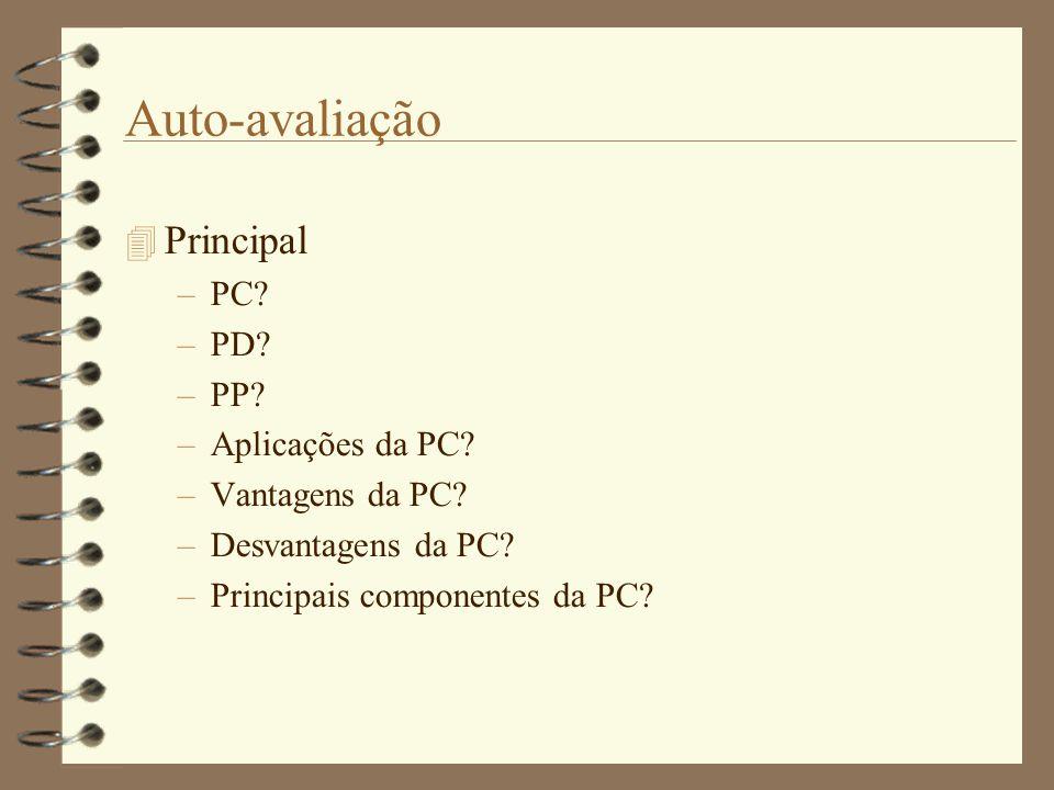 Auto-avaliação  Principal –PC.–PD. –PP. –Aplicações da PC.