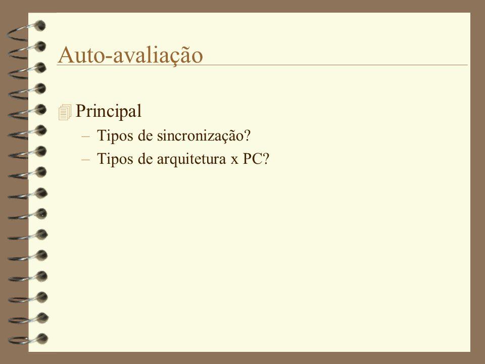 Auto-avaliação  Principal –Tipos de sincronização? –Tipos de arquitetura x PC?