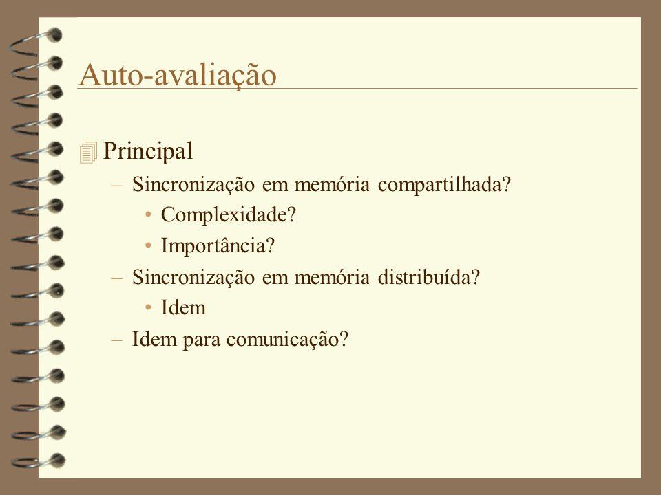 Auto-avaliação  Principal –Sincronização em memória compartilhada.