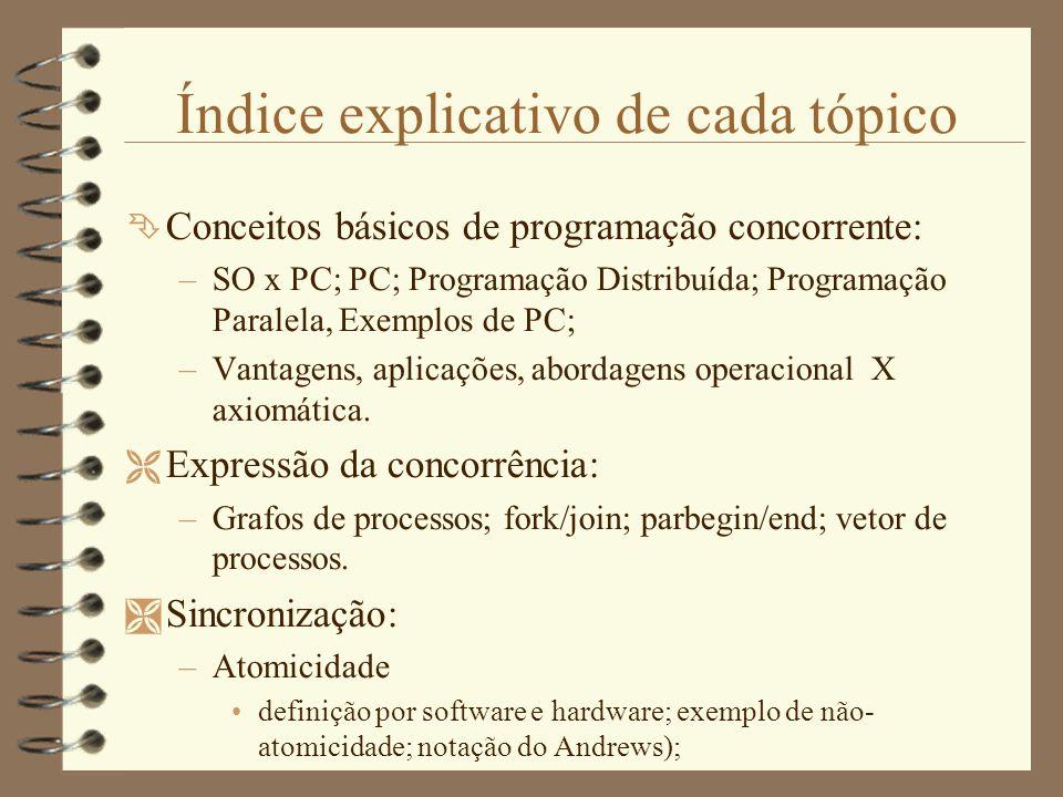 Índice explicativo de cada tópico  Conceitos básicos de programação concorrente: –SO x PC; PC; Programação Distribuída; Programação Paralela, Exemplos de PC; –Vantagens, aplicações, abordagens operacional X axiomática.