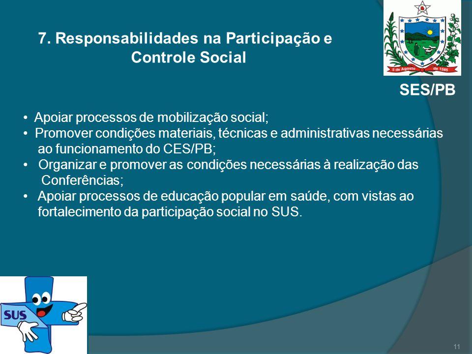 SES/PB 7. Responsabilidades na Participação e Controle Social Apoiar processos de mobilização social; Promover condições materiais, técnicas e adminis