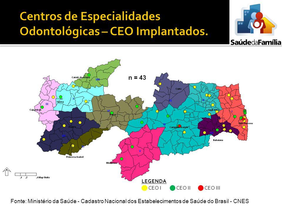 LEGENDA CEO I CEO II CEO III n = 43 Fonte: Ministério da Saúde - Cadastro Nacional dos Estabelecimentos de Saúde do Brasil - CNES