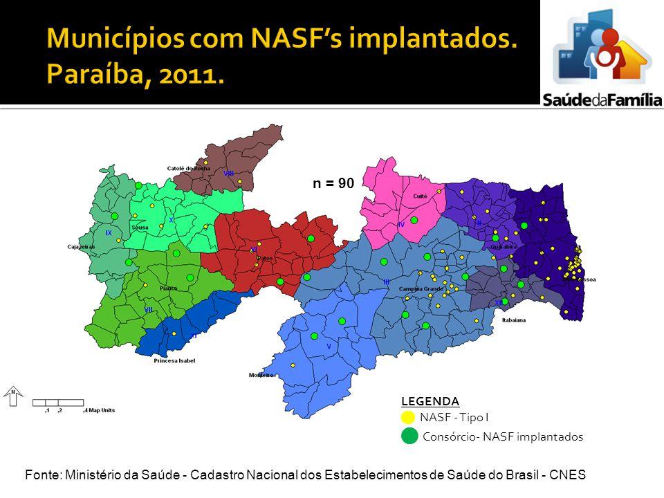 LEGENDA NASF - Tipo I Consórcio- NASF implantados Fonte: Ministério da Saúde - Cadastro Nacional dos Estabelecimentos de Saúde do Brasil - CNES n = 90