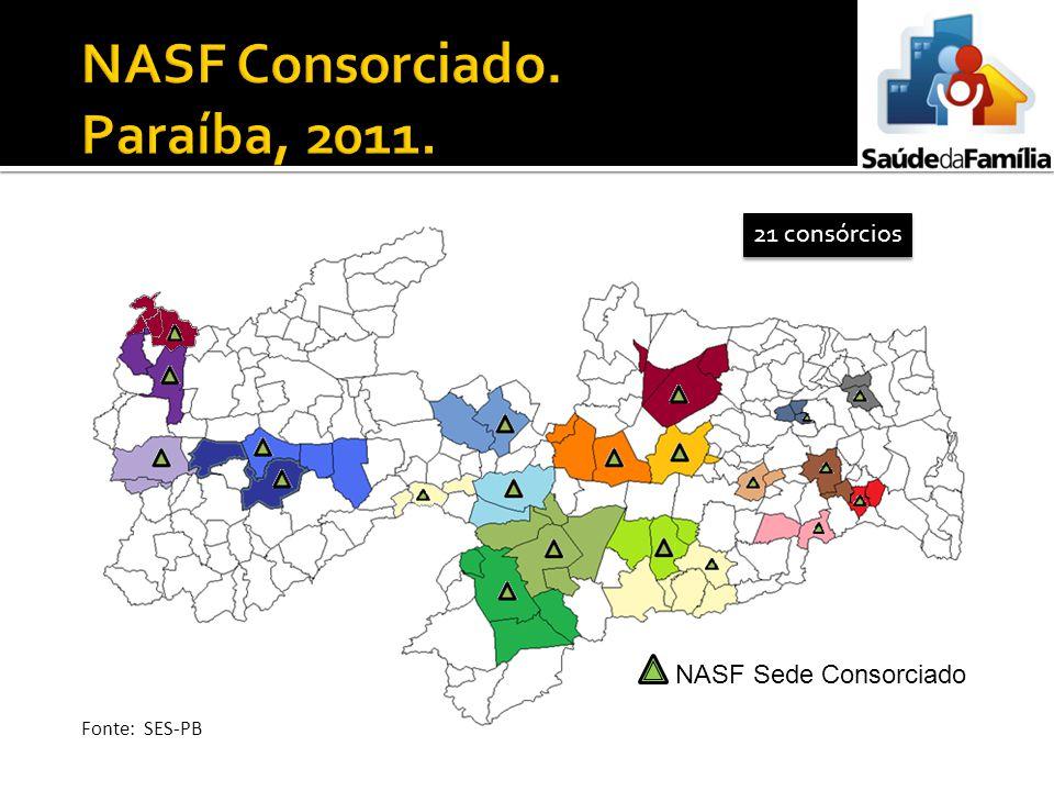 21 consórcios NASF Sede Consorciado Fonte: SES-PB