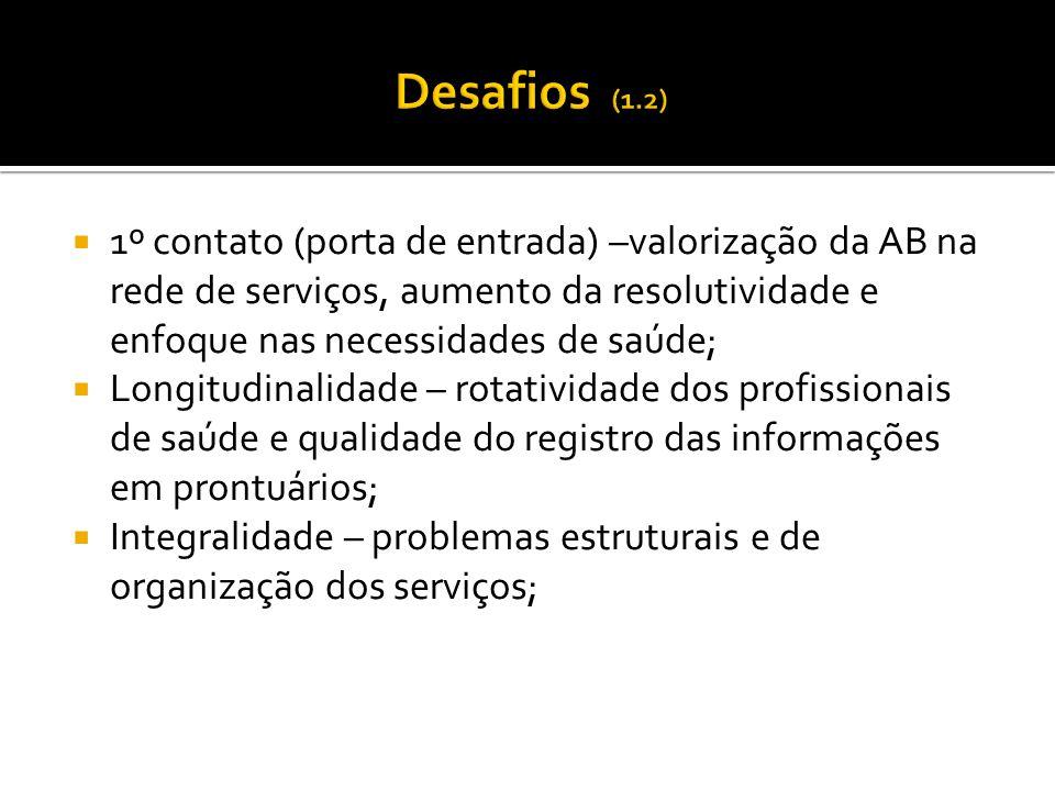  1º contato (porta de entrada) –valorização da AB na rede de serviços, aumento da resolutividade e enfoque nas necessidades de saúde;  Longitudinali