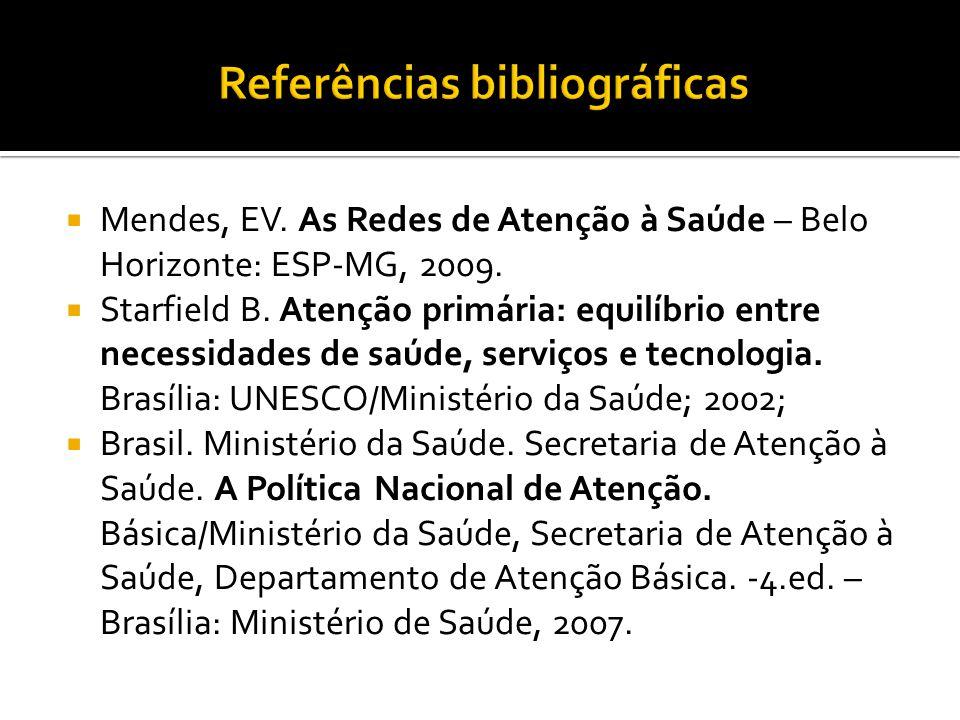  Mendes, EV. As Redes de Atenção à Saúde – Belo Horizonte: ESP-MG, 2009.  Starfield B. Atenção primária: equilíbrio entre necessidades de saúde, ser