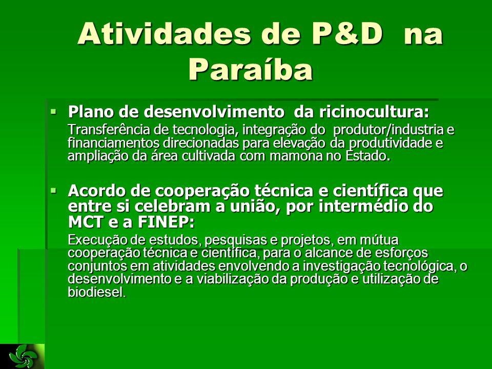 Atividades de P&D na Paraíba Atividades de P&D na Paraíba  Plano de desenvolvimento da ricinocultura: Transferência de tecnologia, integração do produtor/industria e financiamentos direcionadas para elevação da produtividade e ampliação da área cultivada com mamona no Estado.