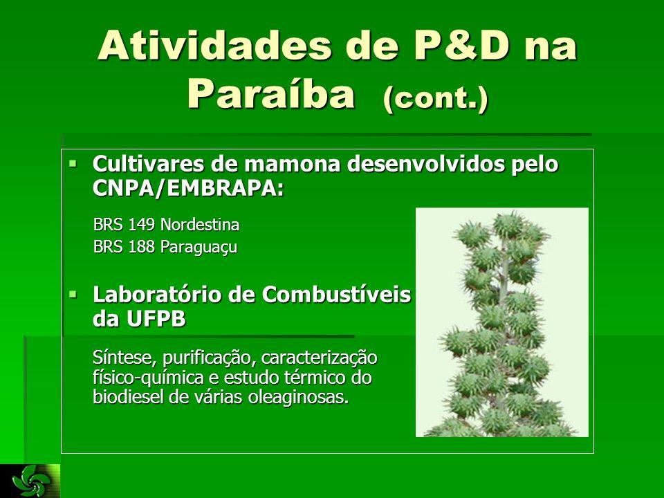 Atividades de P&D na Paraíba (cont.)  Cultivares de mamona desenvolvidos pelo CNPA/EMBRAPA: BRS 149 Nordestina BRS 149 Nordestina BRS 188 Paraguaçu BRS 188 Paraguaçu  Laboratório de Combustíveis da UFPB Síntese, purificação, caracterização físico-química e estudo térmico do biodiesel de várias oleaginosas.