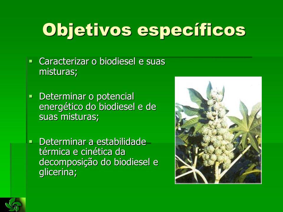 Objetivos específicos  Caracterizar o biodiesel e suas misturas;  Determinar o potencial energético do biodiesel e de suas misturas;  Determinar a estabilidade térmica e cinética da decomposição do biodiesel e glicerina;