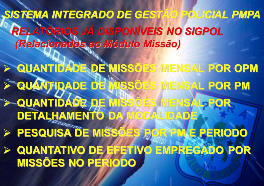 SISTEMA INTEGRADO DE GESTÃO POLICIAL PMPA RELATÓRIOS JÁ DISPONÍVEIS NO SIGPOL (Relacionados ao Módulo Missão)  QUANTIDADE DE MISSÕES MENSAL POR OPM 