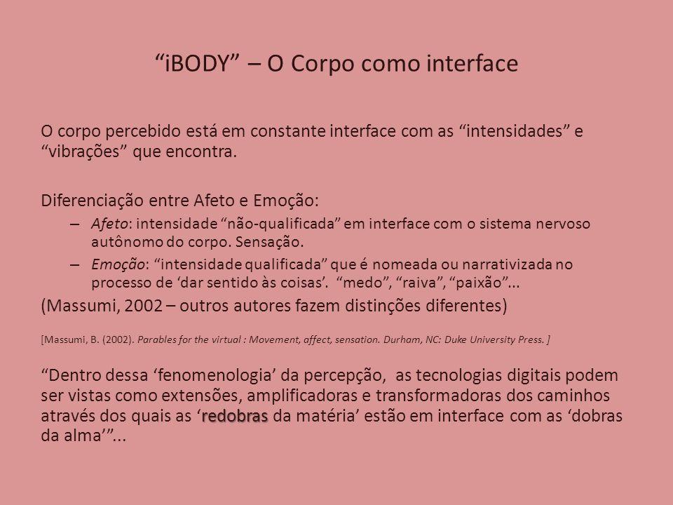 iBODY – O Corpo como interface O corpo percebido está em constante interface com as intensidades e vibrações que encontra.