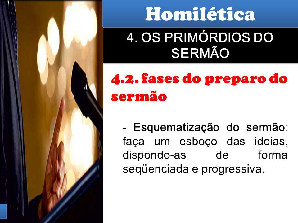 Hermenêutica 4. OS PRIMÓRDIOS DO SERMÃO 4.2. fases do preparo do sermão - Esquematização do sermão: faça um esboço das ideias, dispondo-as de forma se