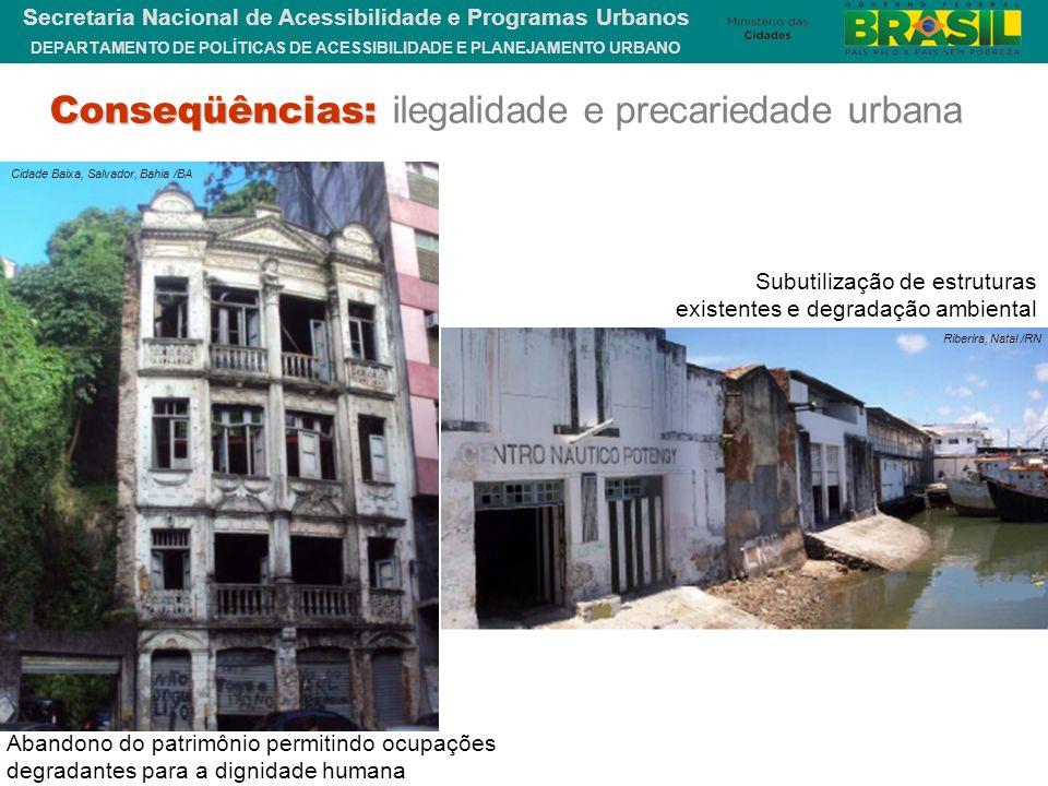 DEPARTAMENTO DE POLÍTICAS DE ACESSIBILIDADE E PLANEJAMENTO URBANO Secretaria Nacional de Acessibilidade e Programas Urbanos Abandono do patrimônio per
