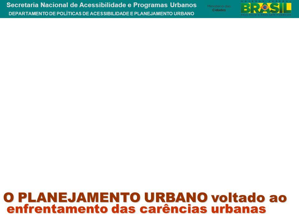 DEPARTAMENTO DE POLÍTICAS DE ACESSIBILIDADE E PLANEJAMENTO URBANO Secretaria Nacional de Acessibilidade e Programas Urbanos enfrentamento das carência