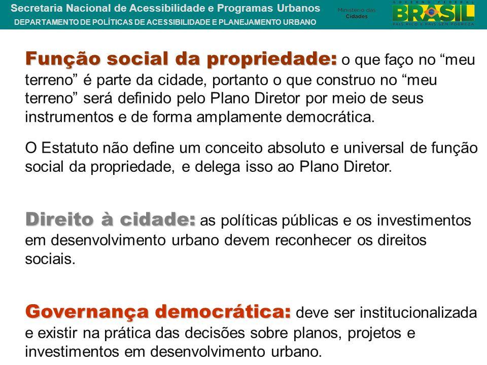 DEPARTAMENTO DE POLÍTICAS DE ACESSIBILIDADE E PLANEJAMENTO URBANO Secretaria Nacional de Acessibilidade e Programas Urbanos Função social da proprieda