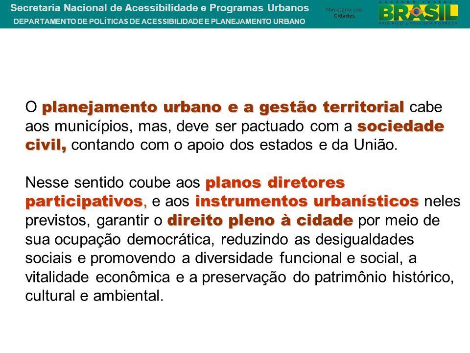DEPARTAMENTO DE POLÍTICAS DE ACESSIBILIDADE E PLANEJAMENTO URBANO Secretaria Nacional de Acessibilidade e Programas Urbanos planejamento urbano e a ge