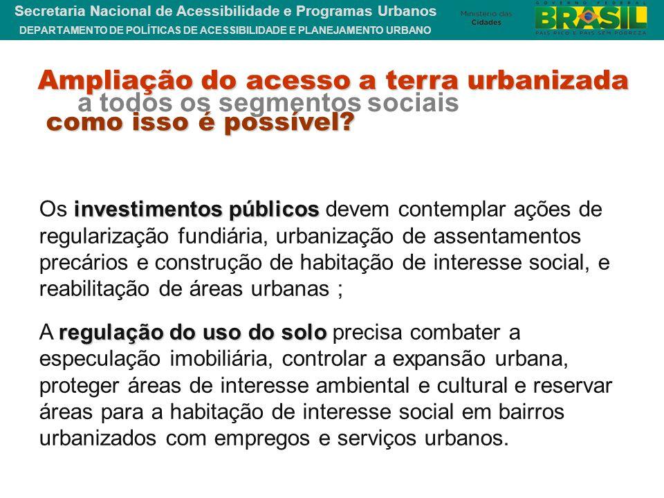DEPARTAMENTO DE POLÍTICAS DE ACESSIBILIDADE E PLANEJAMENTO URBANO Secretaria Nacional de Acessibilidade e Programas Urbanos investimentos públicos Os