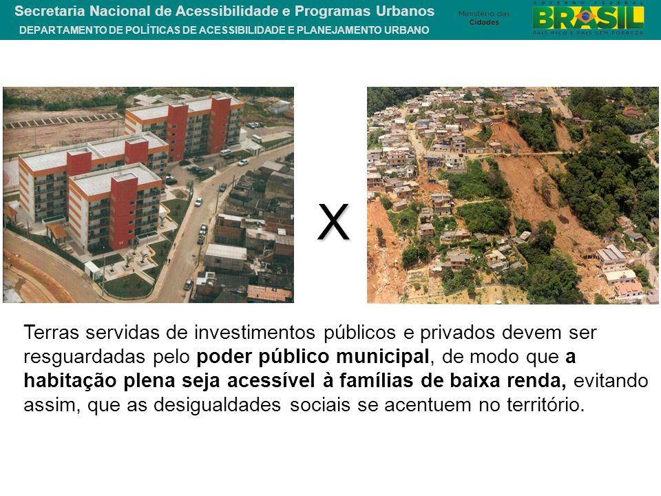DEPARTAMENTO DE POLÍTICAS DE ACESSIBILIDADE E PLANEJAMENTO URBANO Secretaria Nacional de Acessibilidade e Programas Urbanos Terras servidas de investi